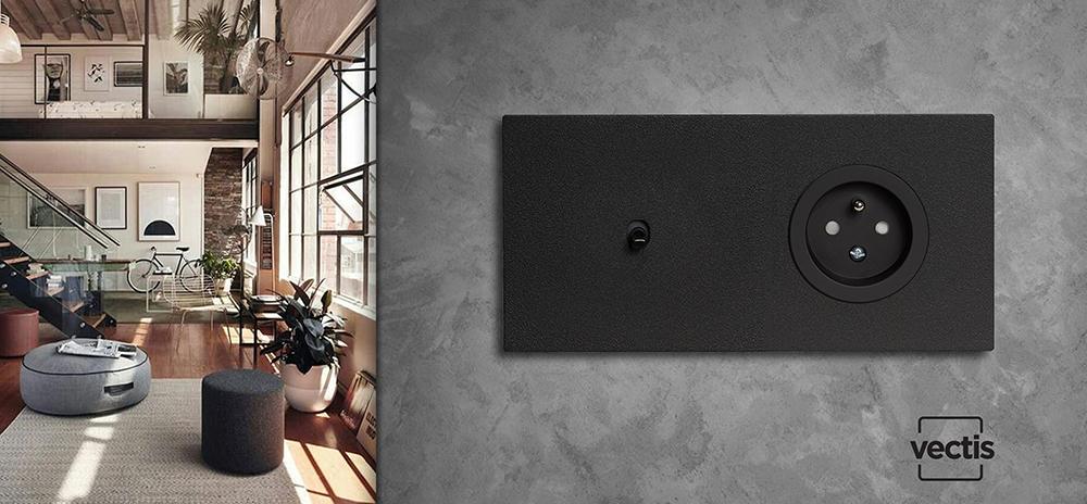 VECTIS vypínač a zásuvka v moderním bytě
