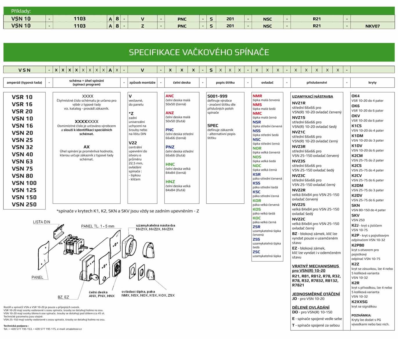 specifikace vackoveho spinace