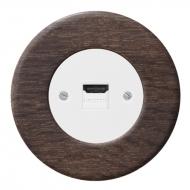 Komplet RETRO dřevo dub tmavý - zásuvka HDMI