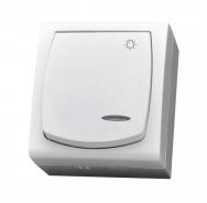 Tlačítko 1/0 IP 44 s prosvětlením, na omítku, kompletní, MADERA