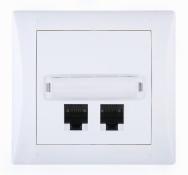 Komplet ELEGANT - zásuvka komunikační (PC) dvojnásobná Cat. 6 stíněná