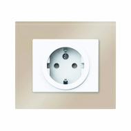 Set DECENTE glass - SCHUKO single outlet with child  protection