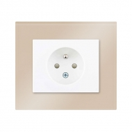 Set DECENTE glass - single outlet 2P + PE, with child protection