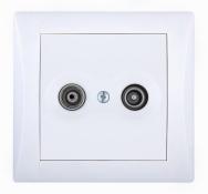 Komplet ELEGANT - zásuvka TV + R průběžná útlum 9 dB (vč. konektorů)