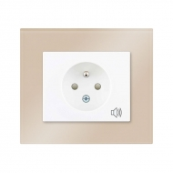 Set DECENTE glass - single outlet with child protection (audible alarm)