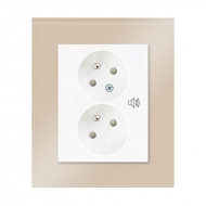 Set DECENTE glass - double outlet with child protection and overvoltag protection (audible alarm)