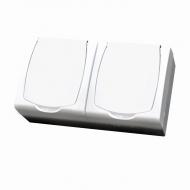 Komplet MADERA bílý - dvě zásuvky s bílým víčkem a dětskou ochranou IP44 MADERA,16 A