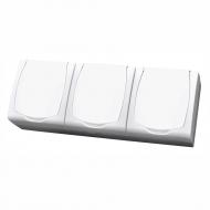 Komplet MADERA bílý - tři zásuvky s bílým víčkem s dětskou ochranou IP44