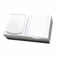 Komplet MADERA bílý - řazení 1 + zásuvka jednonásobná s bílým víčkem IP44, 16 A