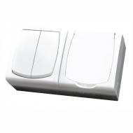 Komplet MADERA bílý - řazení 5 + zásuvka jednonásobná IP44, 16 A s s bílým víčkem