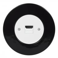 Komplet RETRO keramika černá - zásuvka HDMI