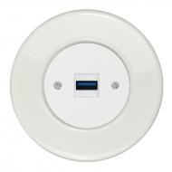 Komplet RETRO keramika bílá - zásuvka USB nabíječka