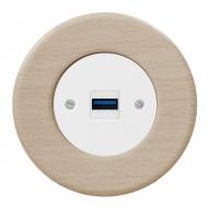 Komplet RETRO dřevo buk - zásuvka USB nabíječka