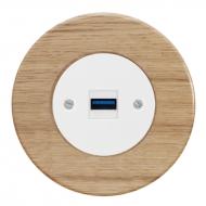 Komplet RETRO dřevo dub světlý - zásuvka USB