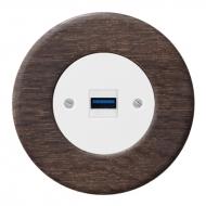 Komplet RETRO dřevo dub tmavý - zásuvka USB nabíječka