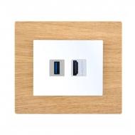 Komplet DECENTE dřevo - zásuvka USB s nabíječkou, HDMI