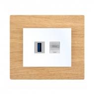 Komplet DECENTE dřevo - zásuvka USB, PC