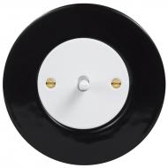Vypínač jednopólový páčkový, řaz. 1, kompletní, RETRO KERAMIKA černá