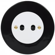 Přepínač střídavý páčkový, řaz. 6+6, kompletní, RETRO KERAMIKA černá