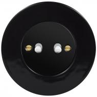 Ovladač zapínací dvojitý páčkový, řaz. 1/0+1/0, RETRO KERAMIKA černá