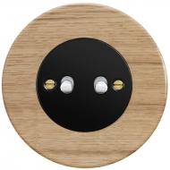 Ovladač zapínací dvojitý páčkový, řaz. 1/0+1/0, kompletní, RETRO DŘEVO dub světlý